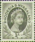 Rhodesia and Nyasaland, 1.7.1954, Queen Elizabeth II., No.10, 1Sh black. Mint condition 1,65 USD. Stamped 0,11 USD.