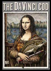 Ray Troll leonardo DaVinci parody of the Mona Lisa portrait Mona Lisa as a fish Cannery worker fish humor t-shirt