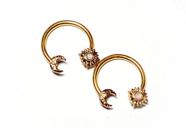 "Gold Fire White Opal Sun Moon Nipple Horseshoe Hoop Ring Piercing Bar Barbell Surgical Steel 316L Jewelry 14g 5/8"" by ABodyJewelry on Etsy https://www.etsy.com/listing/483784977/gold-fire-white-opal-sun-moon-nipple"