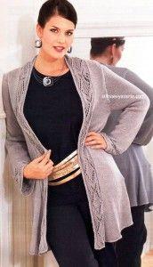 Жакет с ажурной планкой спицами