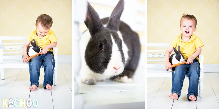 Pictures with live bunnies for Easter! So cute!