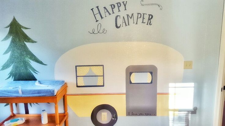 """How adorable is this??!?! Loving Weston's """"happy camper"""" themed nursery!"""