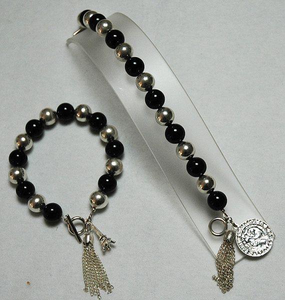 Onyx Bracelet Black Bracelet Gold Bracelet Silver by KwaiJewellery, $45.00