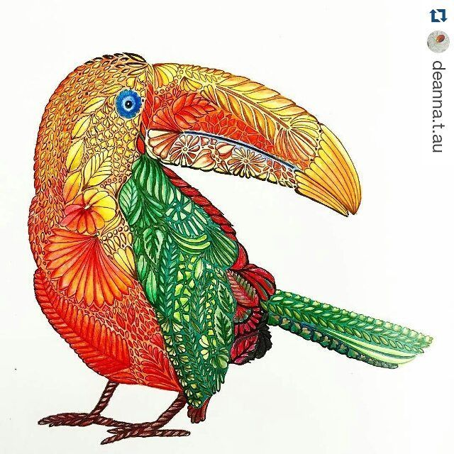 Repost Deannatau Finished Toucan Kokomo Bird Green Tropicalbird Orange Red Sunsetcolours Adultcoloringbook Colouring Coloring