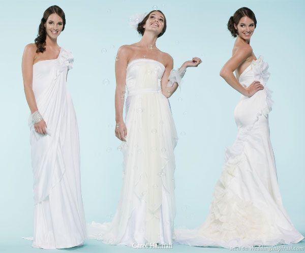 3 muses -- strapless wedding gowns designed by Project Runway Season 6 designer Carol Hannah