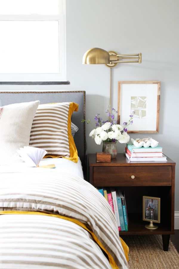 Decor Ideas - Bedside Table - Brass Lighting - Wall Sconce - Bedroom Design