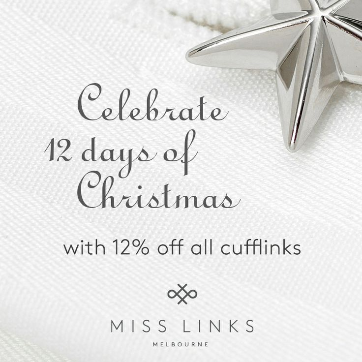 We are celebrating 12 Days of Christmas with 12% off all cufflinks and free worldwide postage! Just enter XMAS13 in the checkout at www.misslinks.com
