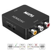 HDMI to RCA, LittleMax 1080P HDMI to 3RCA CVBS AV Composite Video Audio Converter Adapter Supports PAL/NTSC with USB Charge Cable for PC Laptop HDTV DVD, Black Image 1 of 8