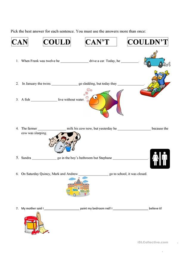 Can, Can't, Could & Couldn't English Lessons For Kids, English Activities  For Kids, Grammar Activities
