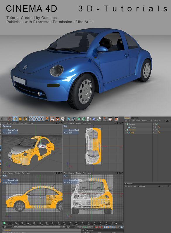C4D VW Beetle Tutorial by ~3d-tutorials on deviantART  #Cinema 4D, #C4D,#modeling,#tutorial