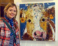 Donnelly next to one of her fabulous creations! #art #artist #painting #farmlife #farmanimal #cute #DukeStreetGallery