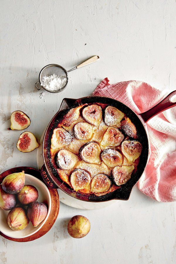 Fig Dutch Baby Pancake | Ripe figs are hard to keep fresh, and peak fig season is a short, select window of time, so it's important to take advantage of these plump fruits and use them to their fullest potential. This Dutch baby is the perfect entertaining treat for a brunch crowd on a cozy weekend. Paired with ingredients you already have in your pantry, these figs make a sweet treat for breakfast. Feel free to use 1/2 teaspoon pure vanilla extract in place of vanilla bean seeds.