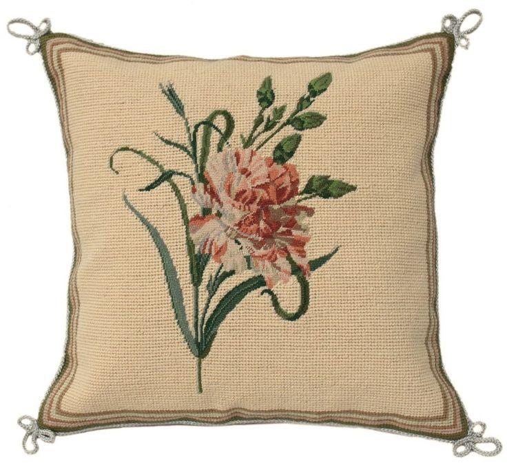 "14"" Beautiful Floral Needlepoint Petit Point Pillow Cushion -- 400 Stitches #PekingHandicraft"
