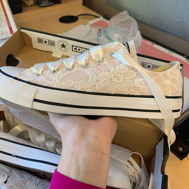 Blush Bridal Converses with Ivory Lace Converse Limited
