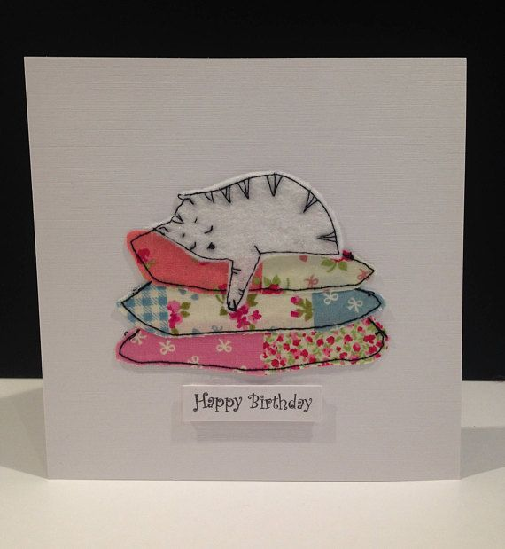 A set of three Handmade stitched fabric Birthday cards. 3 different designs made from cotton fabrics and felt. Both portrait and landscape designs measure 178mm x 115mm Square cards measure 144mm x 144mm Inside they are printed Happy Birthday. Suitable for Birthdays. They are supplied