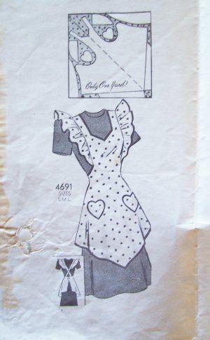 Vintage Apron Patterns Free | Vintage 30's Anne Adams 4691 Full Bib Apron Pattern Heart Pockets