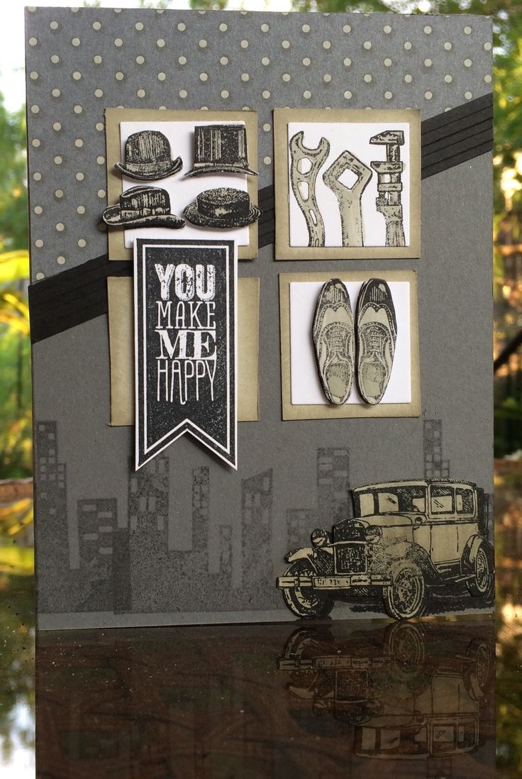 Monochromatic Masculine Birthday or Father's Day card using Calling All Heroes, Perfect Pennants, and Guy Greetings stamp sets by Stampin' Up!  Card by Beverly Stewart.