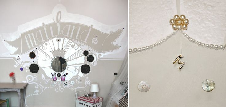 restyling girl room - painted decoration and home makeover - pearlescent glitter mirror -restyling camera bambina - decorazione pittorica e home relooking - madreperla- specchio glitter /