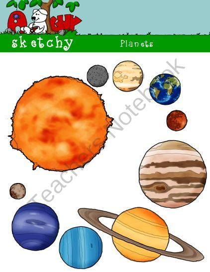 Planets / Sun Clipart Graphics 300dpi Color Black and ...