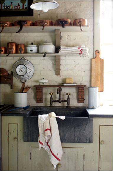perfect kitchen: Idea, Open Shelves, Rustic Kitchens, Farms Sinks, Farmhouse Kitchens, Farmhouse Sinks, Country Kitchens, Copper Pots, Kitchens Sinks