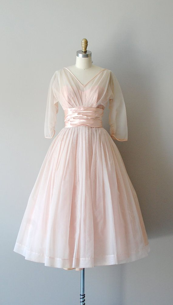 Soft pink 1950s party dress
