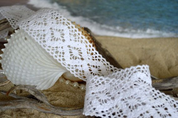 Brushed cotton white lace woven design double by TheQuiltedCheese