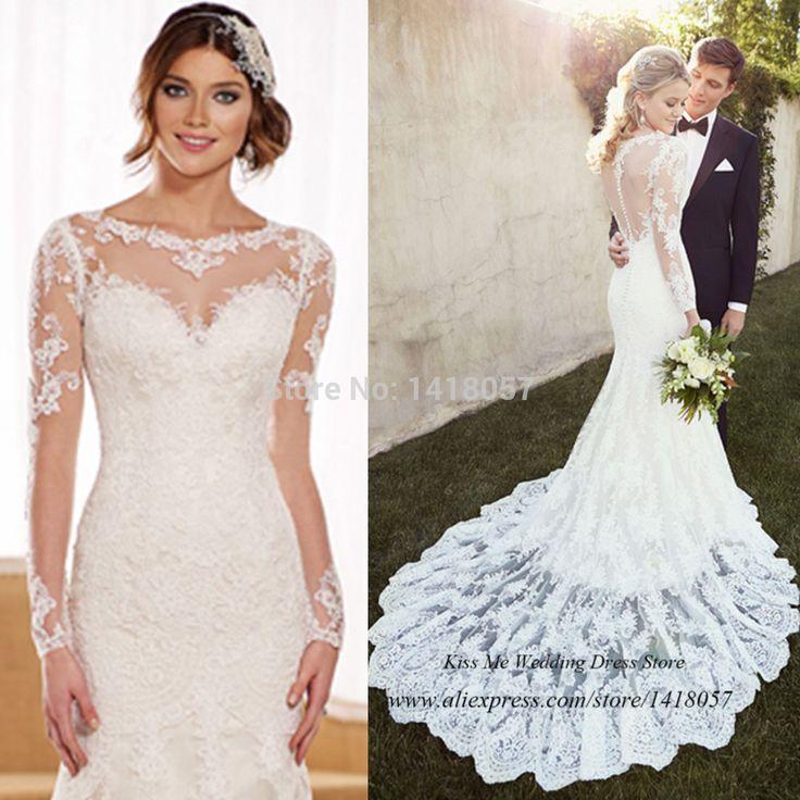 2015 country style long sleeve lace wedding dresses vestido de noiva manga longa mermaid bridal gowns