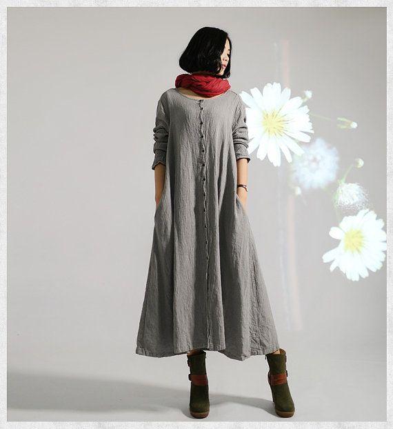 plus size linen buttoned dress Loose fitting dress by JulyFlower