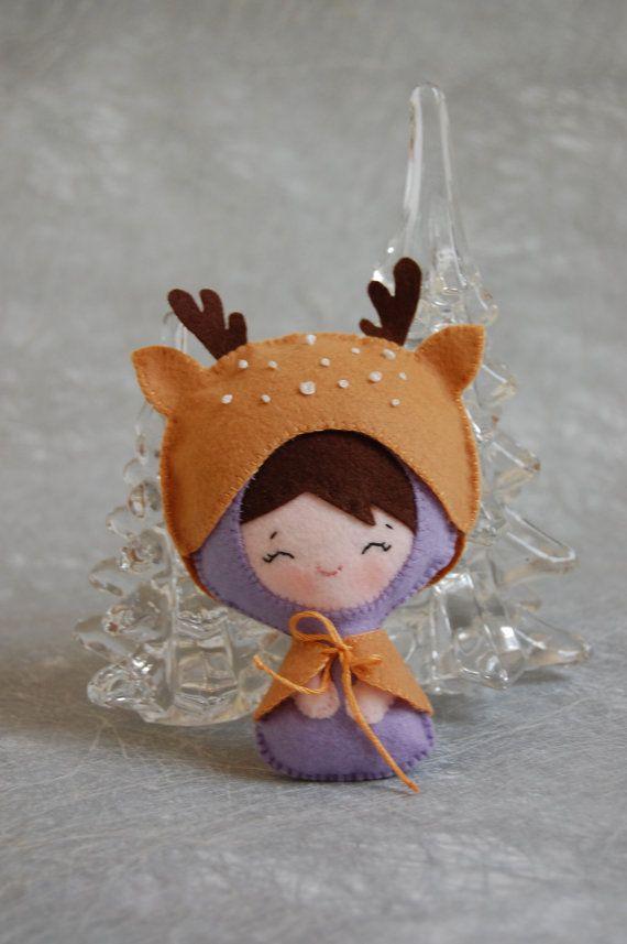 Bambola di feltro, bambina vestita da cervo - baby dressed up as a deer #felt #puppet #doll #handmade #kids