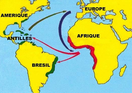 La carte du commerce triangulaire