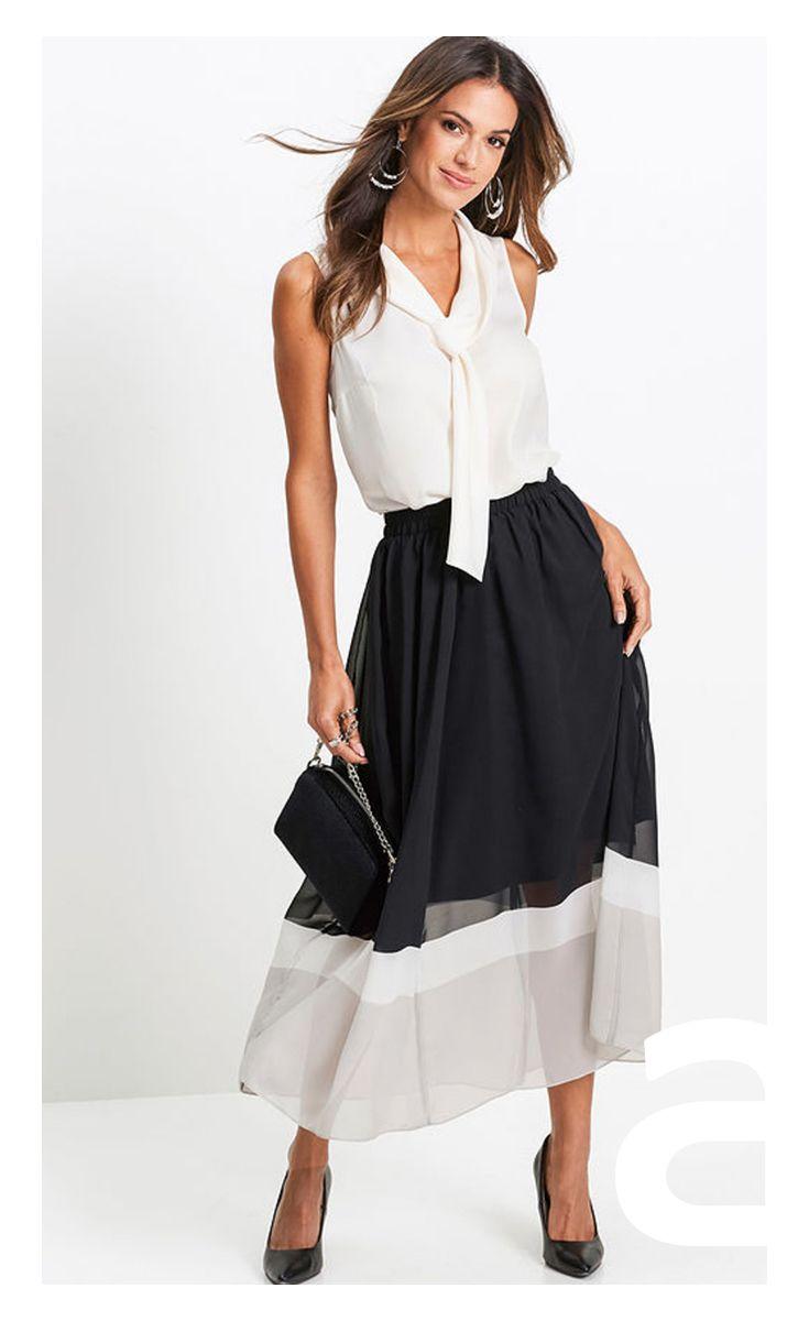Stylizacja Damska Dluga Spodnica Elegancka Spodnica Spodnica Rozkloszowana Mode Jupe Plissee Jupe