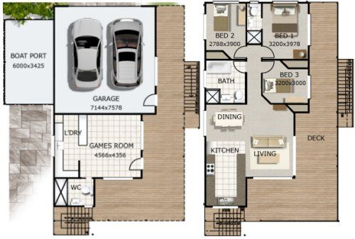 2 level house plan Living Room + Dining Room + Games Rm