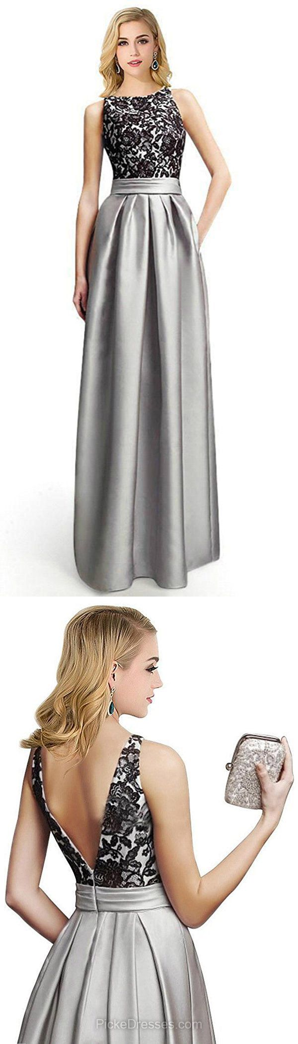 Long Prom Dresses Lace, Silver Prom Dresses For Teens 2018, A-line Evening Party Dresses Scoop Neck, Satin Formal Pageant Dresses with Appliques