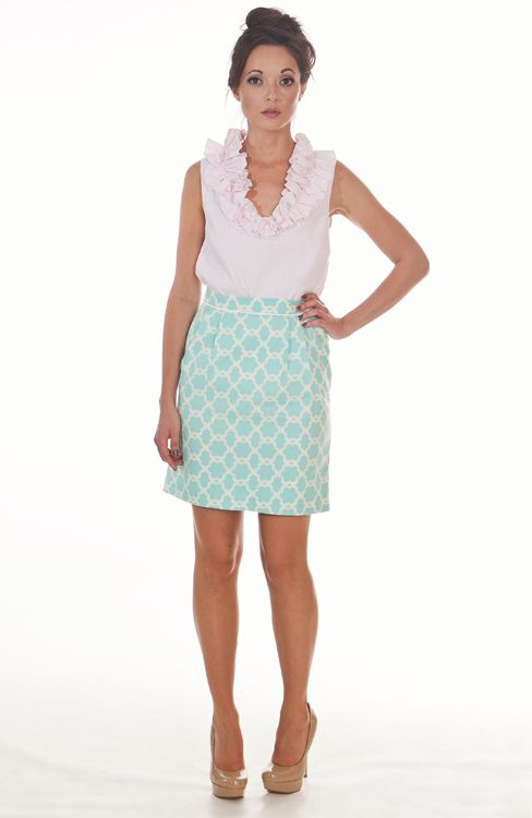 Laura Pleat Skirt  in Aqua Lock  (they need e-commerce so I can buy this)