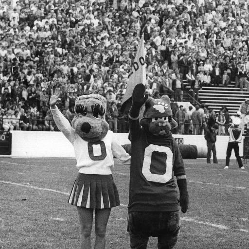 Bobcat and Bobkitten at a OU football game. :: Ohio University Archives