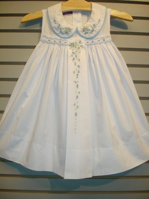 New boutique design hand embroidered smocked Dress - Size  3  4  5  6  7  8  9  White