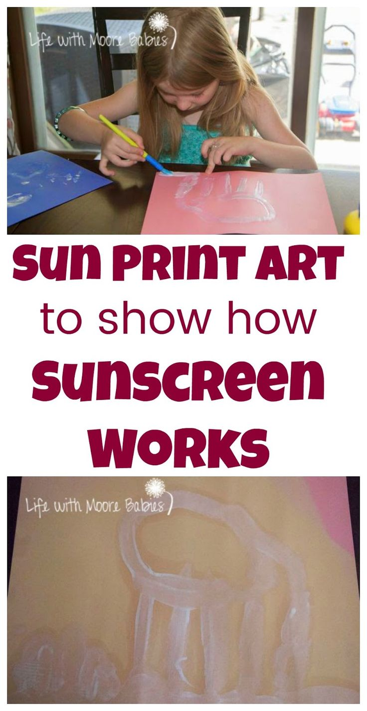 A twist on classic sun prints using sunscreen Also acts as an experiment to explain the function of sunscreen to kids!
