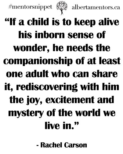 """If a child is to keep alive his inborn sense of wonder, he needs the companionship of at least one adult who can share it, rediscovering with him the joy, excitement and mystery of the world we live in."" – Rachel Carson Click here to become a mentor today! Have an inspirational quote? Share yours...  Read more »"