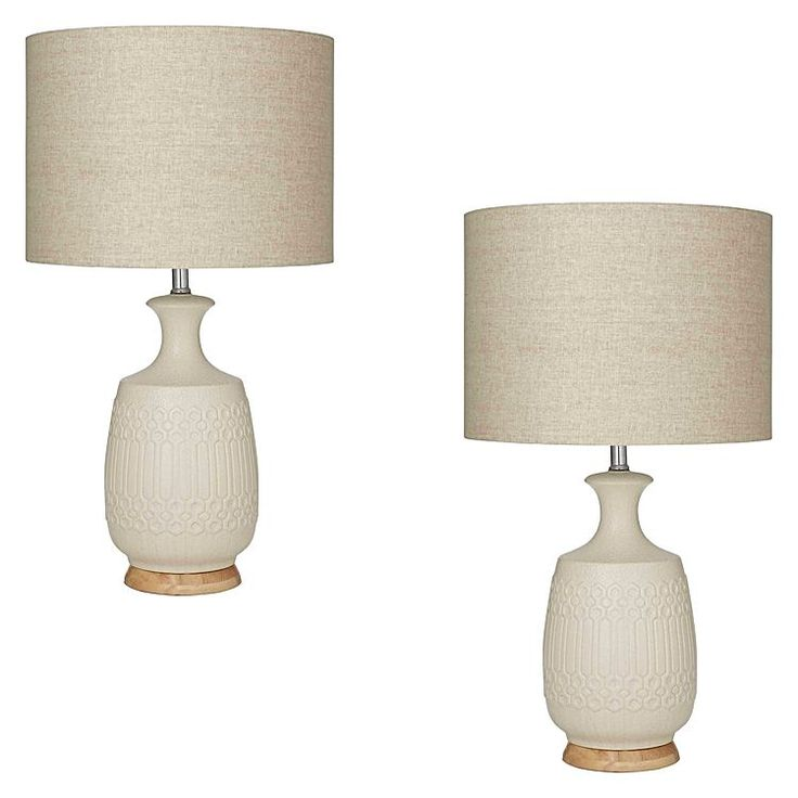 Mediate modern styling and Mediterranean geometry with the luminous Marley Table Lamp, Ivory (Set of 2) from Amalfi.