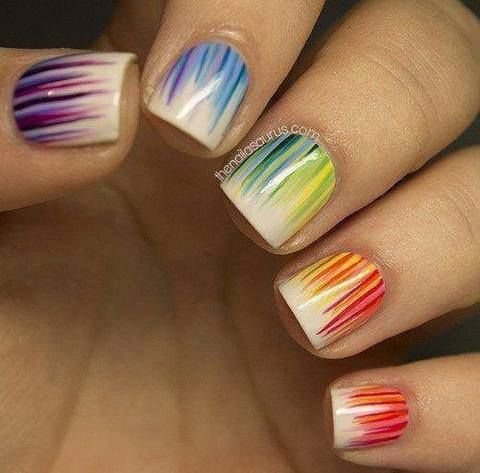 multicolored striped nails