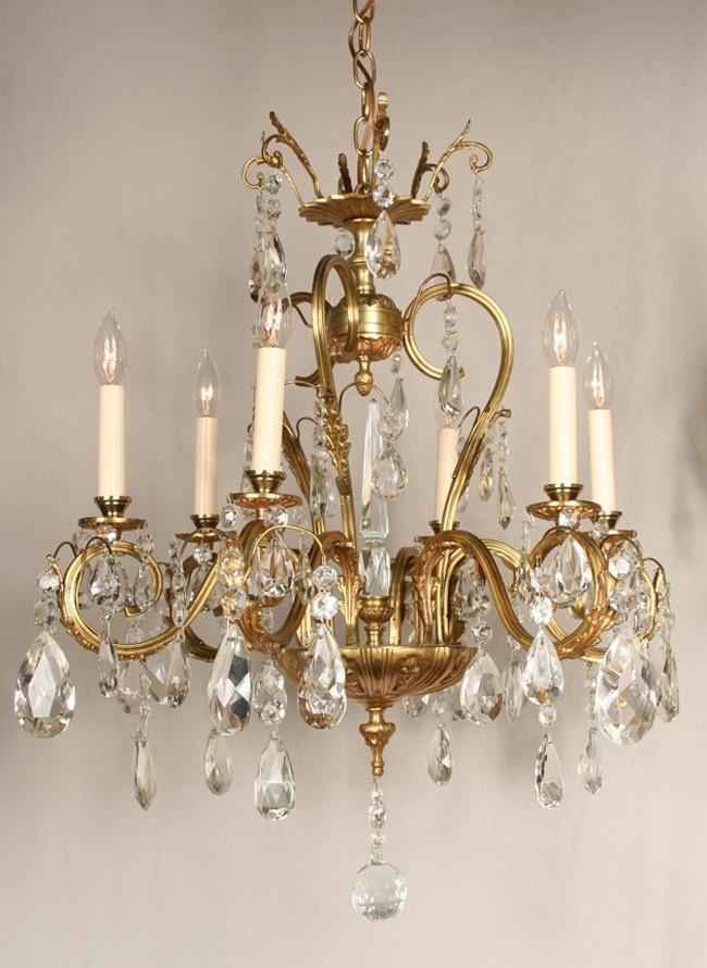 Grand European Vintage Chandelier With Crystals and Spire, c. 1945 - Restoration  Lighting Gallery - 3893 Best Chandelier Images On Pinterest Chandeliers, Crystal