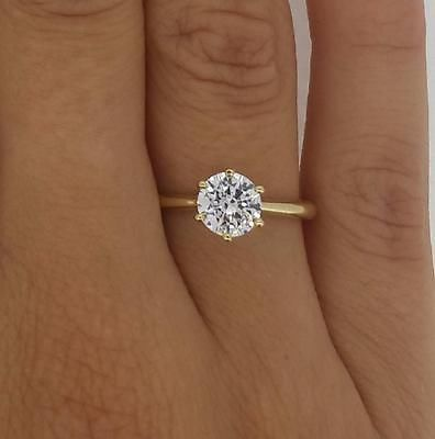 1.25 CT VS2/H ROUND CUT DIAMOND SOLITAIRE ENGAGEMENT RING 14K YELLOW GOLD