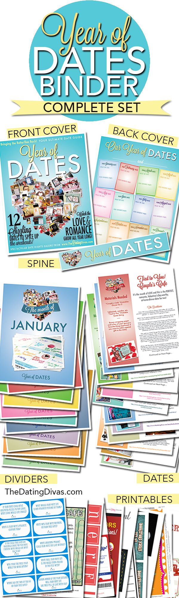 Want to plan a Year of Dates Gift for your love? The Dating Divas Binder printables make it SO EASY and they are so cheap at under $10 (and that is WITH 12 date nights already in there!)