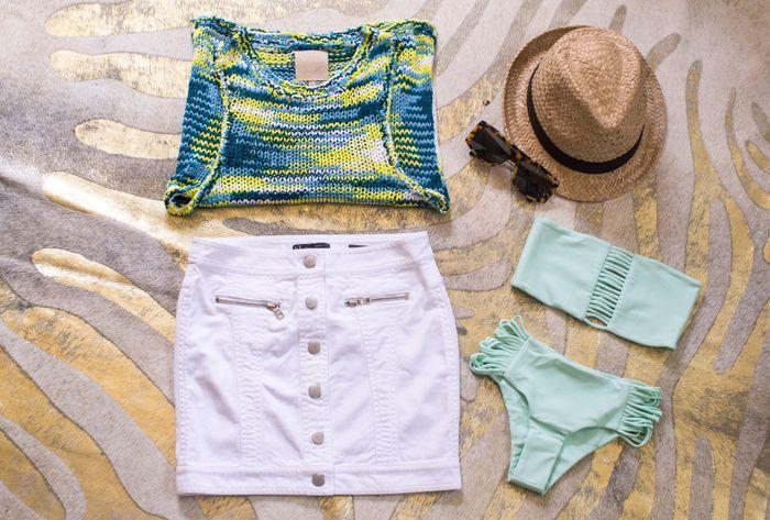 Chaser Knit Tank / Armani Exchange Mini Skirt / Mikoh Bikini Top & Bottom/ Karen Walker Tortoise Sunglasses/ H Fedora... - Total Street Style Looks And Fashion Outfit Ideas