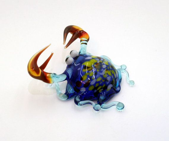 Glass Sea Crab Figurine Sea Crab Sculpture by RussianMiniatures