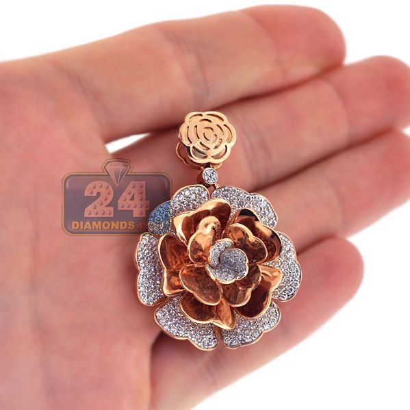 Womens Diamond Pave Flower Pendant 18k Rose Gold 3 72 Ct 1 75