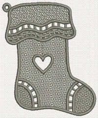 This free embroidery design is a freestanding lace Christmas stocking.