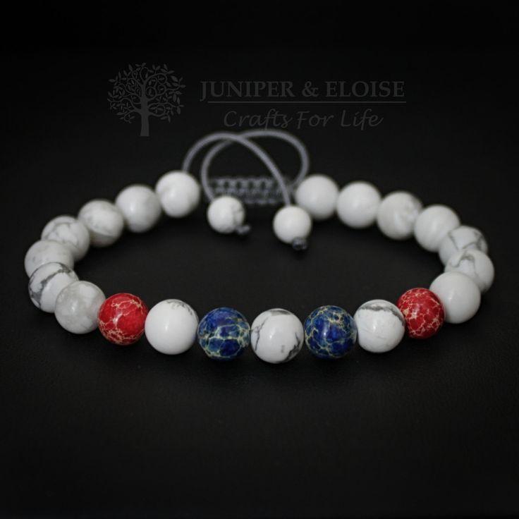 Mens Bracelet, Unisex Bracelet, Adjustable Bracelet, Gift Bracelet, Colors of America, Independence Day July 4th, Red Blue White, Armband by JuniperandEloise on Etsy