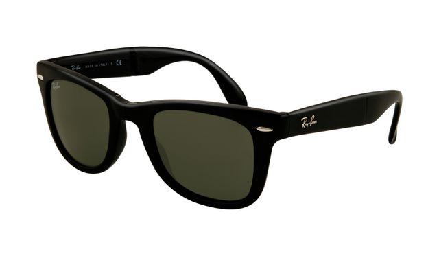 Ray Ban RB4105 Folding Wayfarer Sunglasses Glossy Black Frame Bl