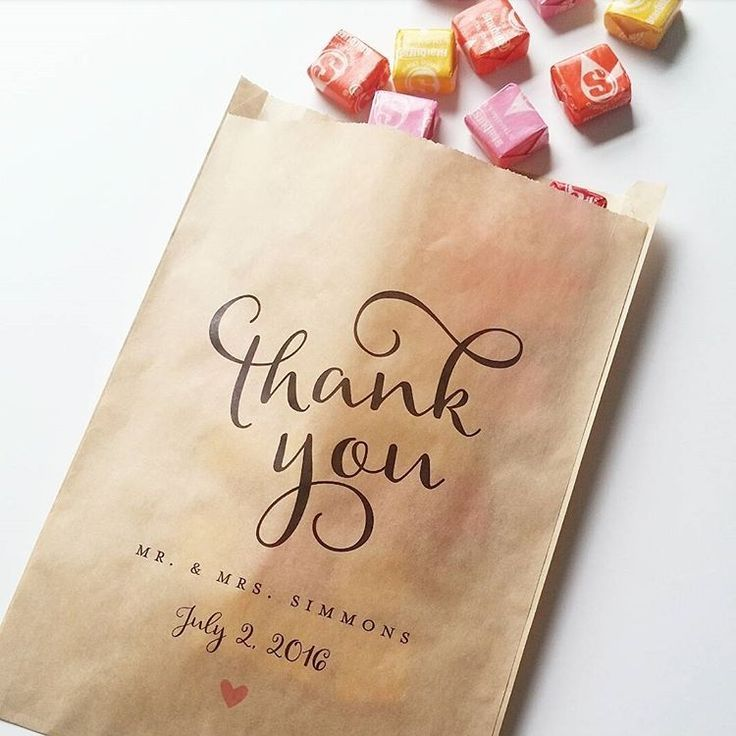 These custom printed favor bags are perfect for a wedding reception candy buffet!